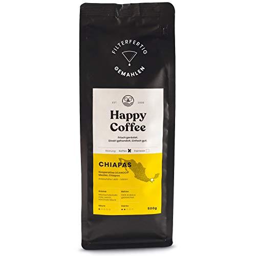 Happy Coffee CHIAPAS Kaffee Gemahlen (Bio) 🌱 Schokoladig, mild & säurearm ✔ Aus fairem Direkthandel - 500g Gemahlener Kaffee für Filterkaffeemaschinen, French Press und Handfilter