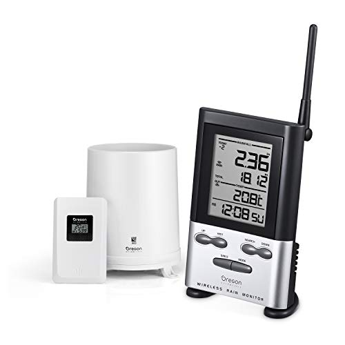 Oregon Scientific RGR126NY Wireless Rain Gauge with Outdoor Thermometer and Indoor Wireless Rain Monitor Weather Station