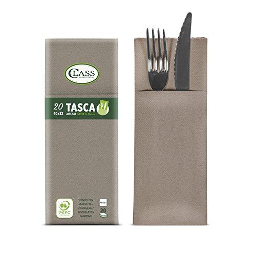 Class c4032ta-073-pefc Laid Serviette Pochette Porte-Couverts, Papier, Crète, 40 x 32 x 0.8 cm, 20 unités