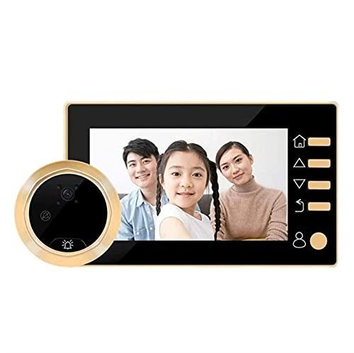 YQQQQ Timbre de Vídeo LCD de 4,3 Pulgadas, Timbre Digital con Visión Nocturna por Infrarrojos, Mirilla Puerta de 145 Grados, Visor Electrónico, Timbre de Puerta (Color : Gold)