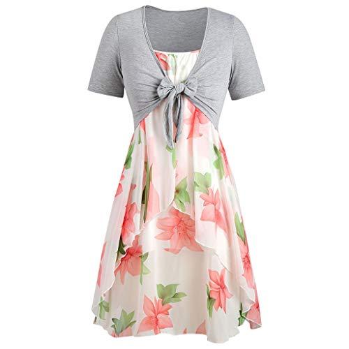 FRAUIT Damen Mode Chiffon Strandkleid Übergröße Floral Kurzarmbluse Bikini Cover Up Sommerkleid