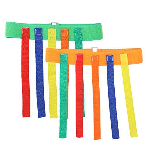 Toyvian 2 stücke Kinder Outdoor Toys ziehen Schwanz gürtel Spiel pädagogisches Sport Spielzeug für Kinder (orange und grün)