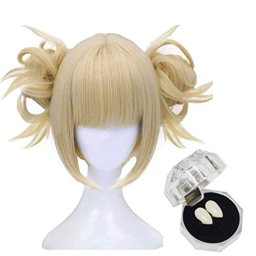 Morticia Short Blonde Full Bang Anime Cosplay Toga Wig with 2 Detachable CLip Buns + 2 False Fangss