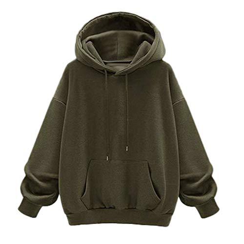 NPRADLA Mädchen-Bluse Herbst Langarm Niedlicher Hoodie Lässiges Kapuzenpullover Damen-Pullover in Übergröße(4XL,Armeegrün)
