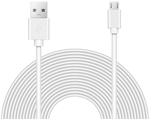 25ft Power Extension Cable Compatible with Wyze Cam v3, Echo, Ps5 Xbox Controller, Blink, Many More. - White -