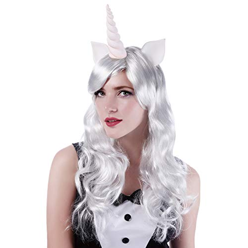 White Long Unicorn Party Wig - 24' Wavy Anime Costume Halloween Christmas Curly Cosplay Wigs Synthetic Hair with Bangs Horn And Ears for Kids Girls and Women