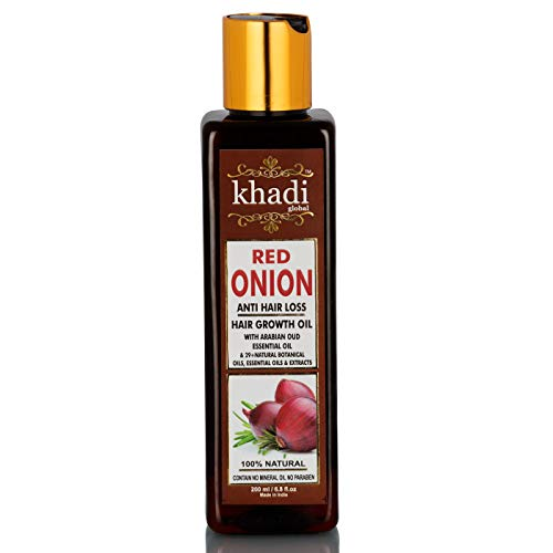 KHADI GLOBAL RED ONION HAIR GROWTH OIL WITH PURE ARGAN, JOJOBA, ROSEMARY, BLACK SEED OIL IN PUREST FORM VERY EFFECTIVELY CONTROL HAIR LOSS, PROMOTES HAIR GROWTH 100% NATURAL HAIR FOOD 200ml/6.76 fl.oz