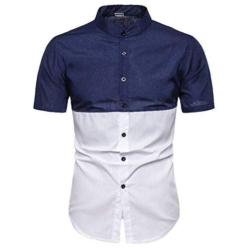 Camisa de Manga Corta para Hombre, Ajuste clásico, Cuello Abotonado, Color a la Moda, Fiesta Informal, Camisa de Manga Corta Delgada M