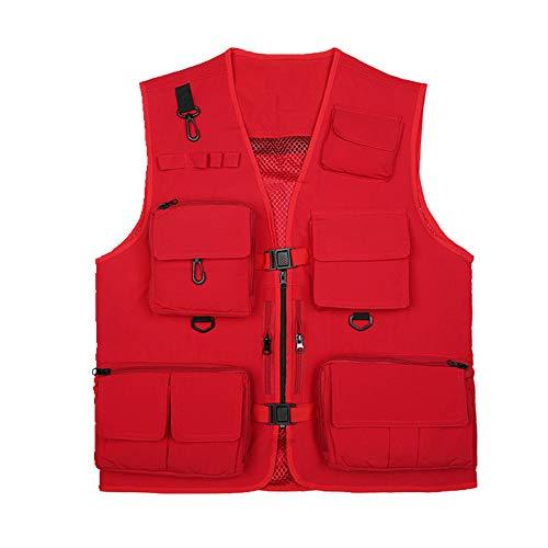 Unisex Anglerweste, Multi-Pocket, atmungsaktive und schnell trocknende Fotografie Jacke, super leicht Gr. L, rot
