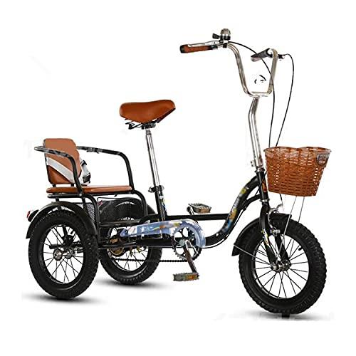 Triciclo para adultos bicicleta Triciclo Adulto 14/16 Pulgadas De Bicicleta Adulta Con Asiento Trasero Y Cesta De Compras Tres Ruedas Crucero Bicicleta Para Personas Mayores, Mujeres, Hom(Size:16inch)
