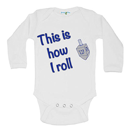 Snappy Suits This is How I Roll Hanukkah Dreidel Cute Baby One Piece Suit Romper (6-12 Months, Long Sleeve)