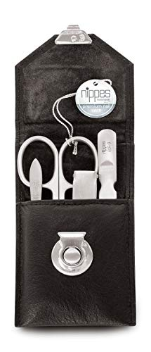 nippes Solingen Premium Line Maniküre Set Locks | 4-teilig | Schwarz | Edelstahl nickel- & rostfrei | Rindsleder-Nageletui | Nagelpflege Set | Made in Solingen/Germany