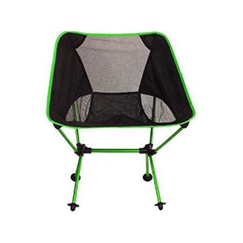 LHQ-HQ Silla Plegable al Aire Libre Silla de Camping portátil Verde del Metal de Hierro Forjado Multifuncional Ocio Silla fácil