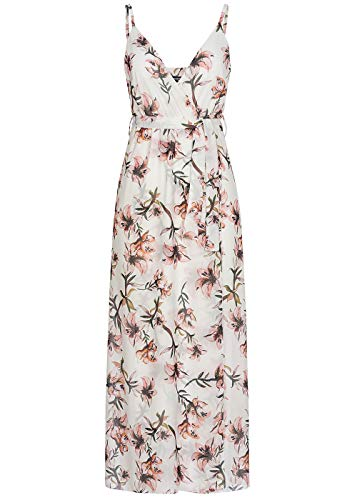 Styleboom Fashion® Damen Kleid Belted Wrap V-Neck Maxi Dress Flower Print Weiss rosa, Gr:XXL