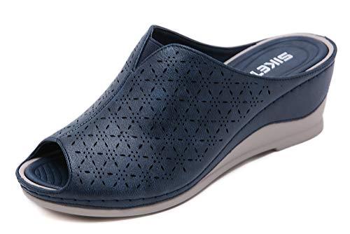Zuecos Cuero para Mujer Sandalias de Cuña con Punta Abierta Zapatos de Plataforma Verano 35-41 EU