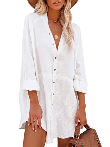 Auxo Women Button Down Shirt Dress Henley V Neck Casual Tunic Blouse Tops Long Sleeve Cover Up Shirt Henley-White XX-Large