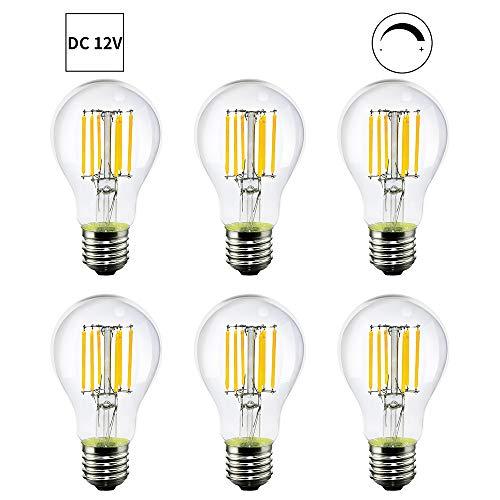 E27 lamphouder LED-lamp DC 12 V ingang, de 2700 K kleurtemperatuur 6 W 500 lm verduisterend, kan 50 W 6 pak A60-DC12V-6W-6 pack (6 watr 6 stuks)