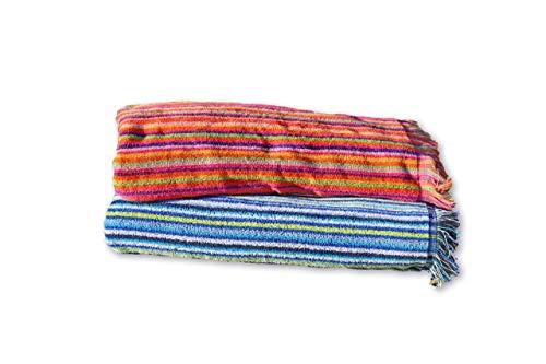 Secaneta Pack 2 Toallas Playa con Flecos de 100x170 cm, Tejido Algodón 100%, Mikonos, Multicolor, 100 x 170 cm