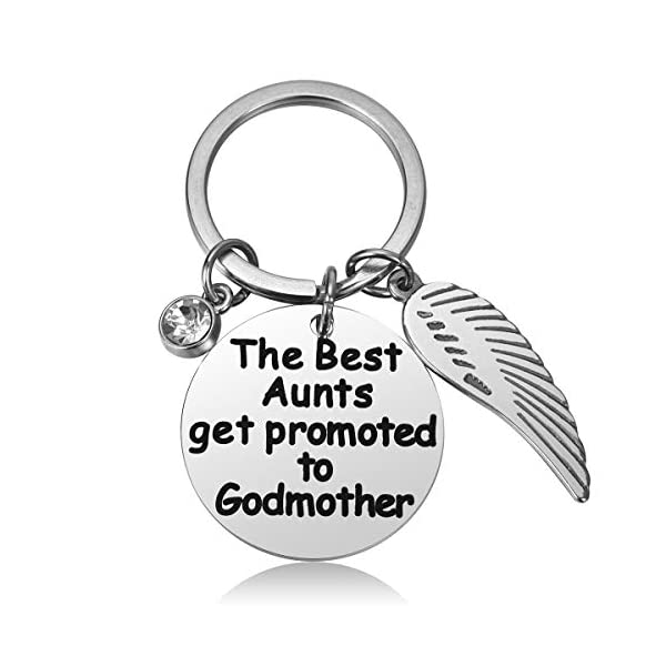 JZSTA Godmother Keychain Gift Baptism Jewelry Godmother Birthday Christen Gift The Best Aunts Get Promoted to Godmother