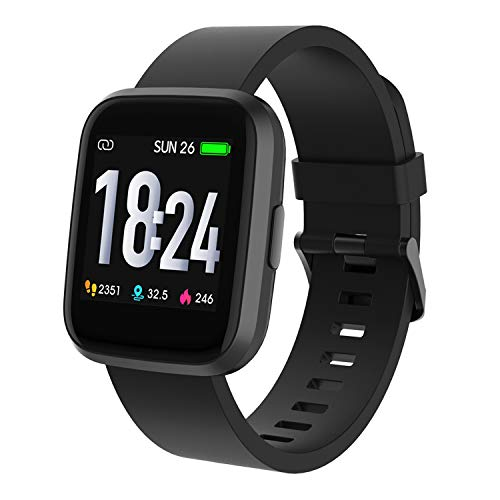 Crossbeats Ignite Metal Smart Watch 1.4'' Full Touch Men Women Fitness Tracker Blood Pressure Blood Oxygen Heart Rate Monitor Waterproof Exercise Smartwatch for iPhone Samsung Android (Carbon Black)