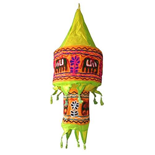 ABAT-JOUR indien jaune et vert éléphants et fleurs 60 cm Lanterne patchwork en coton éclairage luminaire lampe tissu indien décoration intérieure