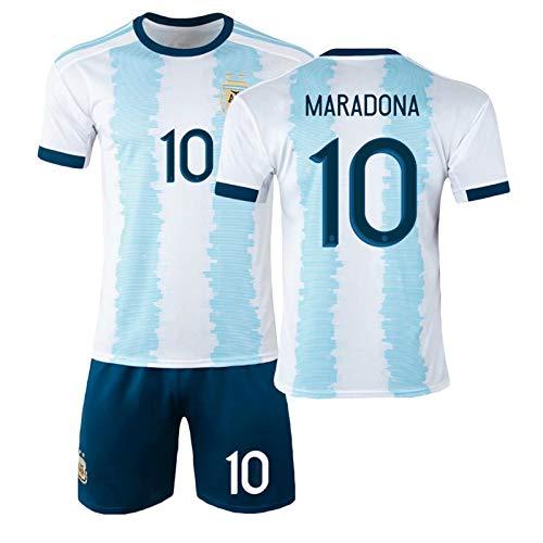 CMYA Fußballuniformen für Kinder, Argentinien Maradona Nr. 10 Fußballtrikots, Retro Commemorative 1986, Fußball-Gedenk-T-Shirt für die Weltmeisterschaft und Shorts für Kinder,Without Socks,16