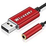Adaptador de audio USB a conector de 3,5 mm, tarjeta de sonido estéreo con chip incorporado, adecuado para auriculares, PS4, PC, computadora portátil,computadoras de escritorio,altavoz