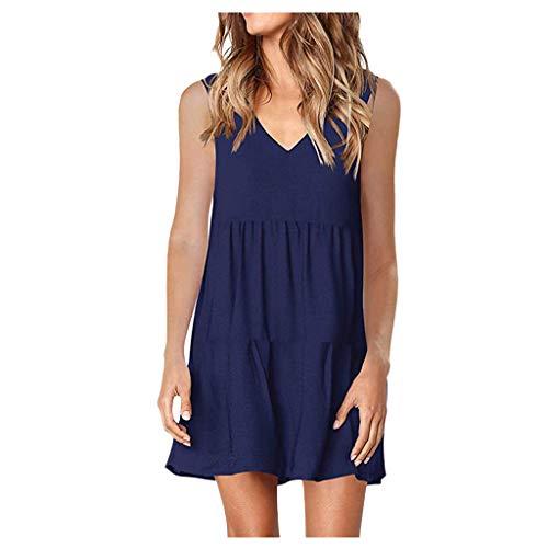 KUDICO Frauen Sommer Plain Tunika Kleid Solide Sleeveless V-Ausschnitt Beiläufige Lose Flowy Volant Etuikleider Minikleider (Marine,S)