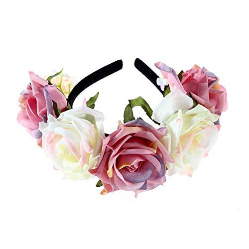 Ixkbiced Diadema de Flor Rosa de simulación Mexicana para Mujer y niña, Color de Contraste, Corona de Bailarina de Flamenco, Corona, Disfraz de Fiesta de Halloween, Tocado