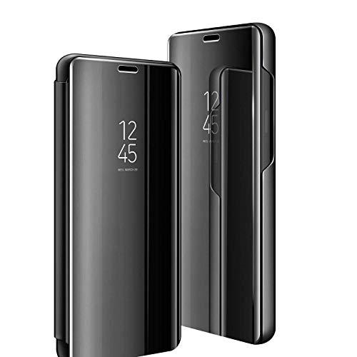 Handyhülle für Galaxy S9,für Samsung Galaxy S9 Handy Schutzhüllen Spiegel Clear View Standfunktion Cover 360 Grad Stoßdämpfung Hülle Kratzfeste Flip Slim für Samsung s9 Blau (S9, Schwarz)