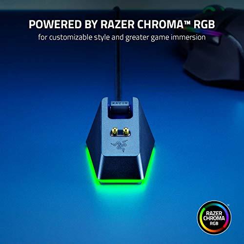 Razer Mouse Dock Chroma - Charging Station mit RGB Beleuchtung für DeathAdder V2 Pro, Viper Ultimate, Basilisk Ultimate, Naga Pro (Magnetische Maus-Ladestation, rutschfest) Schwarz