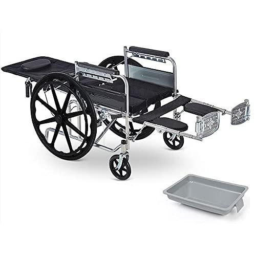 MZDJDM Silla de Ruedas, Aluminio Lite, Liviana con armazón Plegable, ayudas para la Movilidad, Silla de Viaje cómoda con Inodoro, tamaño estándar, Cuero de PU/Negro