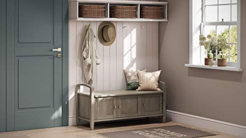 Product Image 6: SIMPLIHOME Warm SOLID WOOD 44 inch Wide Entryway Storage Bench with 3 Doors, Multifunctional Rustic inDistressed Grey
