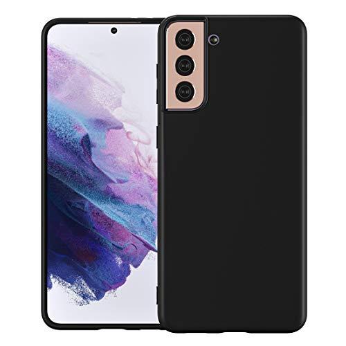 Cresee Kompatibel mit Samsung Galaxy S21 Plus 5G Hülle, dünne Silikon-Hülle mit Mikrofaser-Innenfutter, kratzfest, schmale Passform, flexible Handyhülle für S21+, schwarz