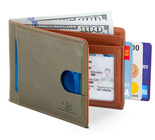 SERMAN BRANDS RFID Blocking Slim Bifold Genuine Leather Thin Minimalist Front Pocket Wallets for Men (Salted Green 2.0)