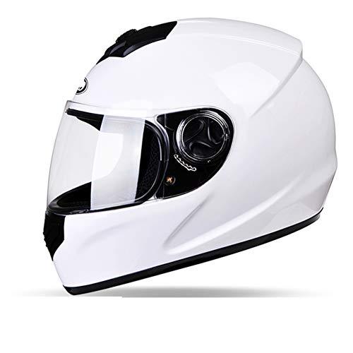 YXDDG Motorhelm Integraalhelm Motorfiets Street Bike Open Face met klep: zwart mat 54-59cm(21-23inch) Wit