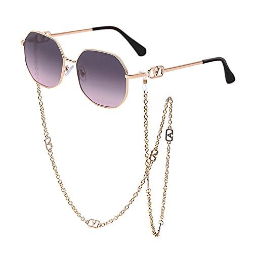 AMFG Gafas De Sol De Cadena, Gafas De Sol De Cordón De Cadena Anti-gota, Al Aire Libre, Decoración De Fotos, Ropa Con Gafas (Color : C, Size : M)