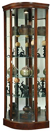 Howard Miller Davis Corner Curio Cabinet 547-189 – Hampton Cherry Glass Display Shelf Case with Light