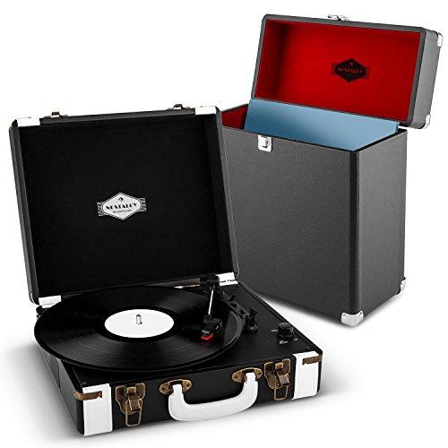 auna Jerry Lee Record Collector Set Schallplattenspieler + Plattenkoffer (USB-Anschluss zum Digitalisieren, 2 Lautsprecher, Tragegriff,Platz für 30 LPs, Retro Design) schwarz