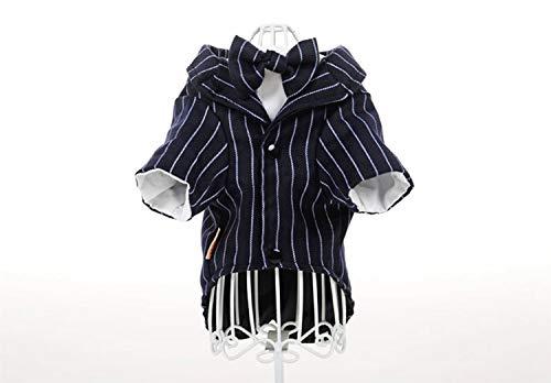 nobrand TEYUN Gefälschte Zwei Hunde-Bekleidung Frühling und Herbst-gestreifte Klage Hemd Zwei Füße Kleidung (Color : Black, Size : XL)