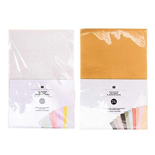 Rico Design 20 Hojas de Fieltro de 20 x 30 cm - Colores Pastel y Tierra