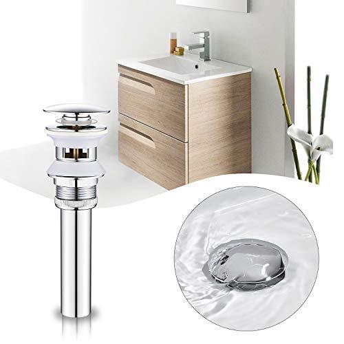 BONADE Válvula Desagüe Lavabo Universal Click-Clack 1 ¼' Válvula de Desagüe Cromada con Rebosadero para Lavabo Válvula Pop-Up de Drenaje Tapones de Desagüe