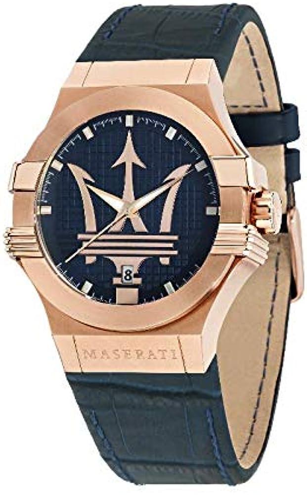 Orologio da uomo, collezione potenza, in acciaio, pvd oro rosa e cuoio 8033288766889