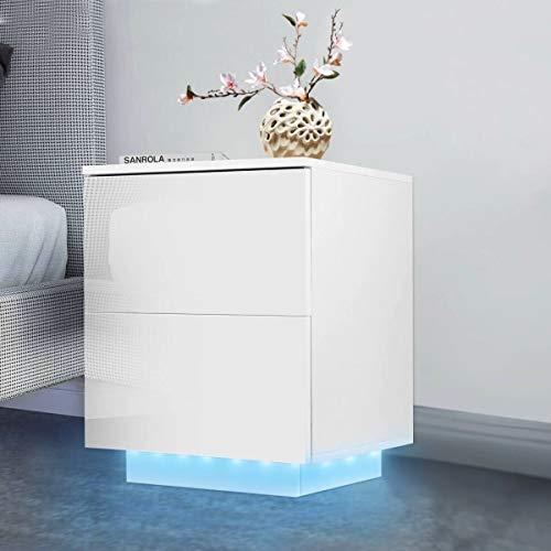 Mesita de Noche, Luces LED RGB de Alto Brillo, mesita de Noche Moderna, mesita de Noche, Mueble de Almacenamiento con cómoda de 2 cajones, Muebles de Dormitorio de acrílico Simple,Blanco