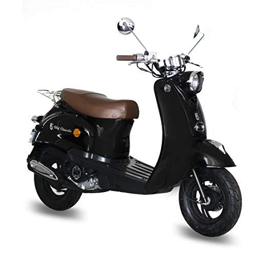 Motorroller GMX 460 Retro Classic 25 km/h schwarz - sparsames 4 Takt 50ccm Mofa mit Euro 4 Abgasnorm
