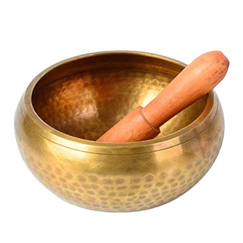 NUOBESTY Nepal Singing Bowl Manual Tibetan Meditation Singing Bowl Tapping Metal Craft Buddha Bowl Singing Bowl with Stick (12x12x6.5cm)