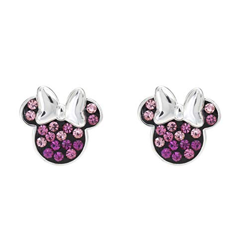 Disney Minnie Mouse Sterling Silver Crystal Stud Earrings