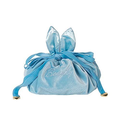 Trousse de maquillage avec cordon de serrage - Pour femme et fille - Bleu clair