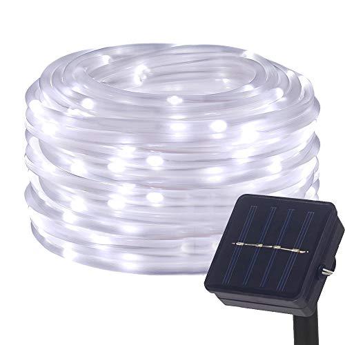 DULEE Solar LED Lichtschlauch Lichterkette Außen 5M 50 LED Wasserdicht Garten Dekorative Lichter,Weiß