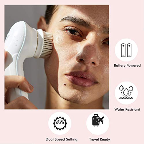 Vanity Planet Facial Cleansing Brush Ultimate Skin Spa with 3 Interchangeable Face Brushes for Cleansing, Exfoliating and Silicone Brush, Protective Case, Cordless, Water Resistant (Pucker Up Pink)
